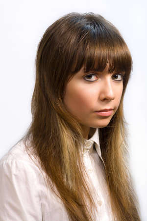 grease paint: Closeup portrait of lovely person with brown hair with very beautiful eye