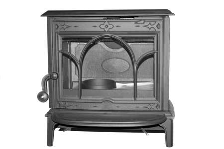 stove pipe:  the present working fireplace on a white background
