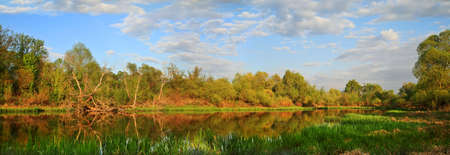 The small navigable river, trees, on a background rural small houses photo