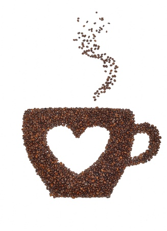 A cup of coffee with a heart symbol   Isolated on white background photo