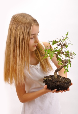 Girl sown plants Little girl dressed in white, holding in his hands a plant with soil - tree  Over white background  photo