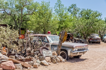 sheriffs: Hackberry, Arizona, USA - June 11th 2014. Old rusty sheriis car at Hackberrys General Store. Hackberry is located on Arizona State Route 66 (former U.S. Route 66) 23 miles northeast of Kingman