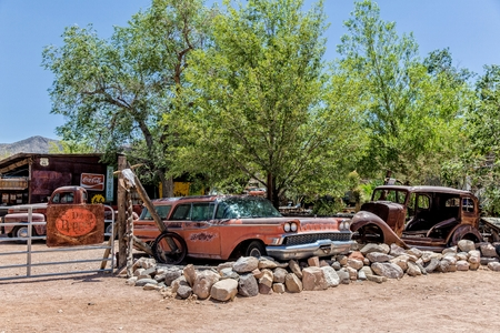 general store: Hackberry, Arizona, USA - June 11th 2014. Old car wreck at Hackberry General Store. Hackberry is located on Arizona State Route 66 (former U.S. Route 66) 23 miles northeast of Kingman