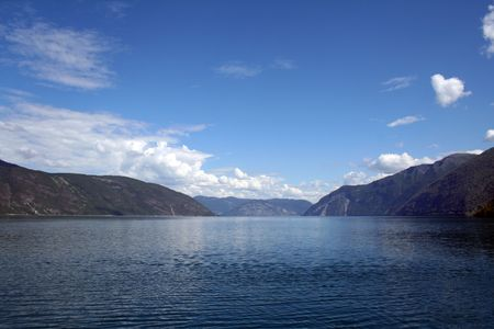 beautiful norwegian fjords with a clear blue sky photo