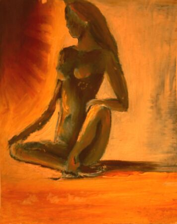 nue plage: peinture abstraite - fille nue sur la plage