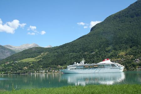 cruiseship: cruise ship - in the northern fjord region