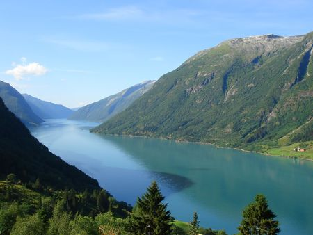beautiful view of the Norwegian fjord - nord europe Stock Photo - 859883
