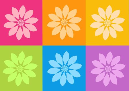 vibration: yoga yantras flowers - computer generated clipart