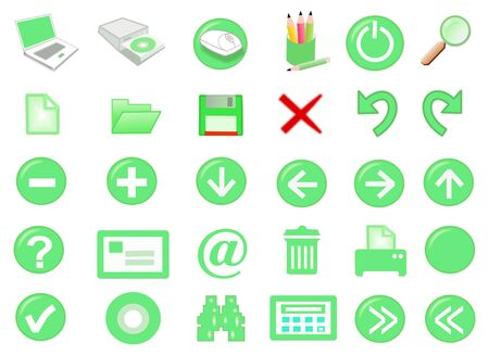 3d computer icon set - computer generated Stock Photo