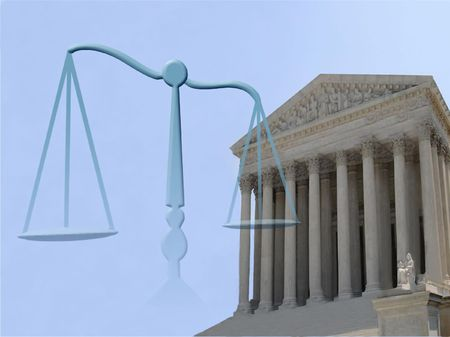 supreme court of justice and balance symbol photo