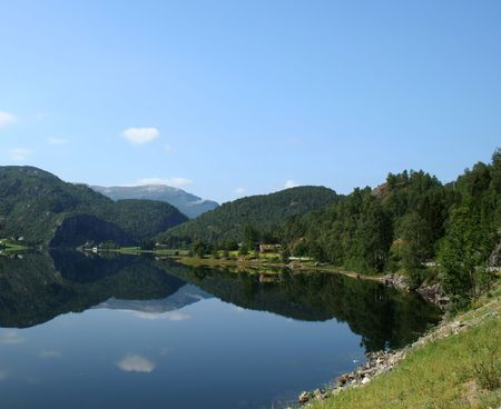 beautiful view of the Norwegian fjord - nord europe photo