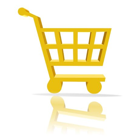 3d shopping cart button - computer generated clip-art Stock Photo - 860132