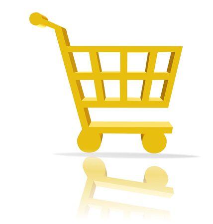 ebuy: 3d shopping cart button - computer generated clip-art