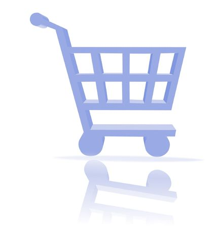 3d shopping cart button - computer generated clip-art photo
