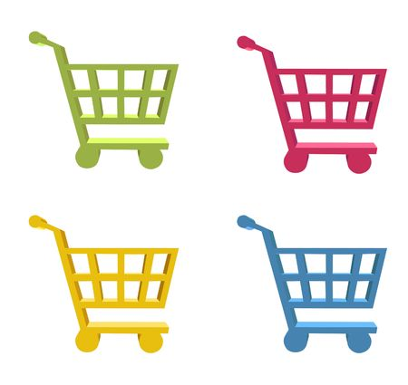 3d shopping cart button - computer generated clip-art