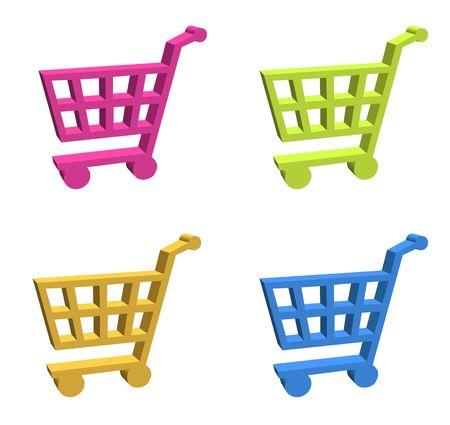 3d shopping cart button - computer generated clip-art