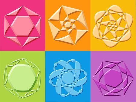 yantra: 3d yantra stars flowers symbols - computer generation