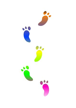 coloured footprints traces - computer generated clipart photo