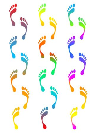 adult footprint: coloured footprints traces - computer generated clipart