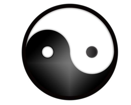yoga to cure health: yin yang tao symbol - computer generated