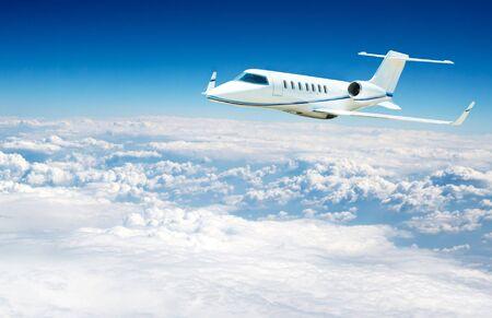airplane fliying on the beautiful blue sky background Stock Photo