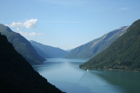 beautiful lanscapes from norwegian fjords  in the summer - europe travel Banco de Imagens