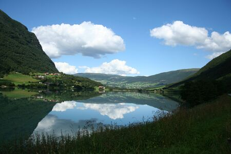 beautiful lanscapes from norwegian fjords  in the summer - europe travel Stock Photo - 981924
