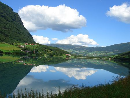 beautiful lanscapes from norwegian fjords  in the summer - europe travel photo