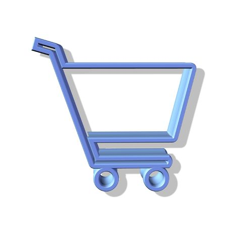 shopping cart button - web icon - computer generated illustration