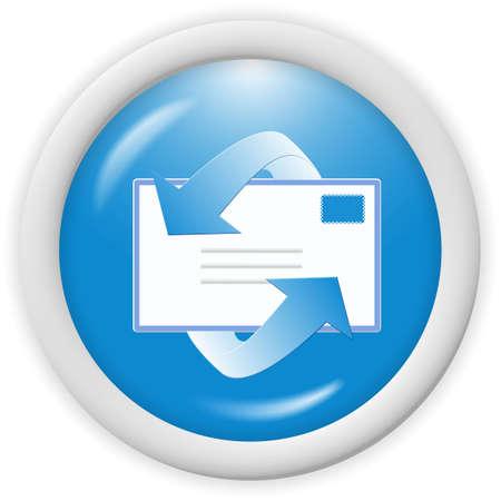 3d icona segno blu-mail - web design illustrazione