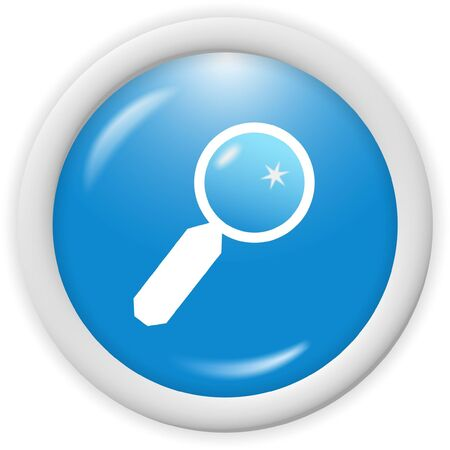 3d blue magnifying glass icon -  computer generated clipart