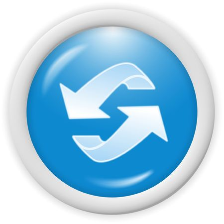 blue 3d recycle icon - computer generated clipart