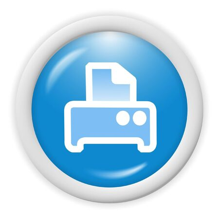 blue 3d printer icon - computer generated clipart Stock Photo