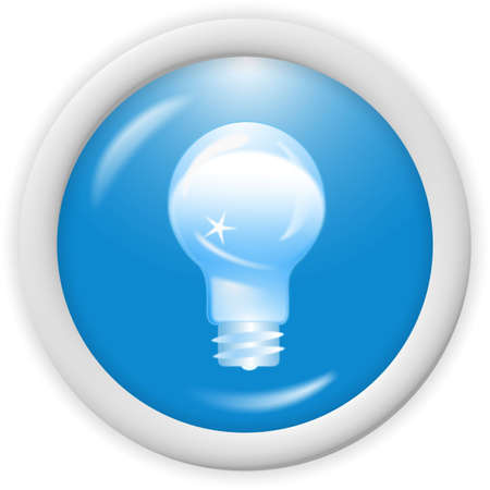 3d blue icon symbol - bulb, ideas concept - web design