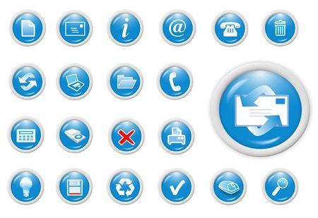 3d business icon set - web design illustration