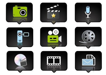 computer icons set  over the black background - digitaly generated Stock Photo