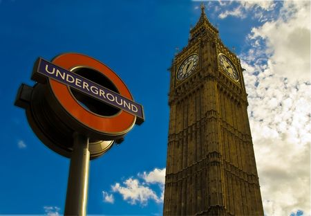 big ben & undergound station sign - london architecture