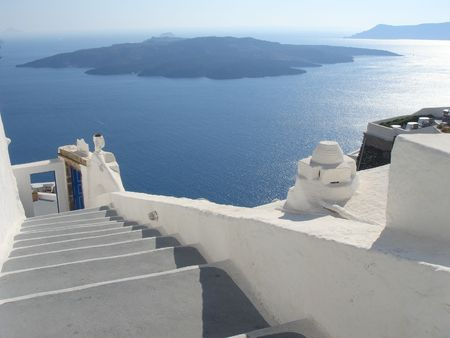 Volcan vista da isola di Santorini Grecia - Europa di viaggio