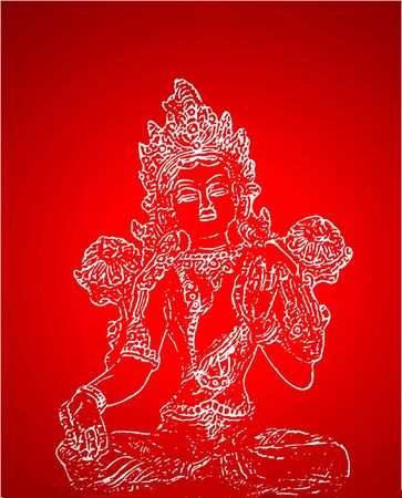 shiva - indian deity silhouettes over red background photo