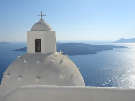 church over a blue background - santorini, greece architecture Stock Photo