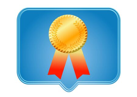 1 place: gold medal icon illustration over white background