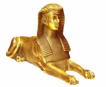 Sfinge d'oro isolato su sfondo bianco - egitto  Archivio Fotografico