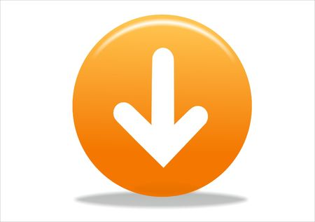 3d white arrow icon symbol - orange series