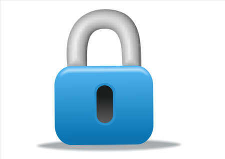 3d blue padlock icon design - business series