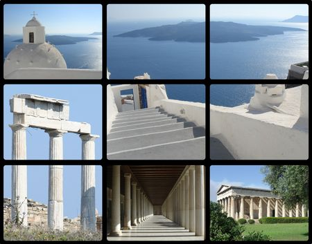 greece architecture - athens and santorini island