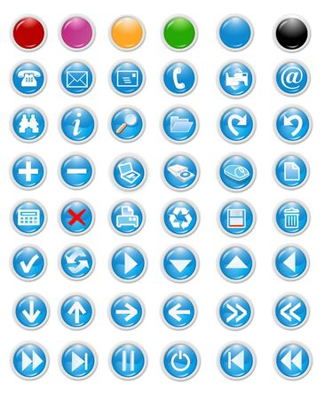 blue icons set and buttons - web page design elements Stock Photo