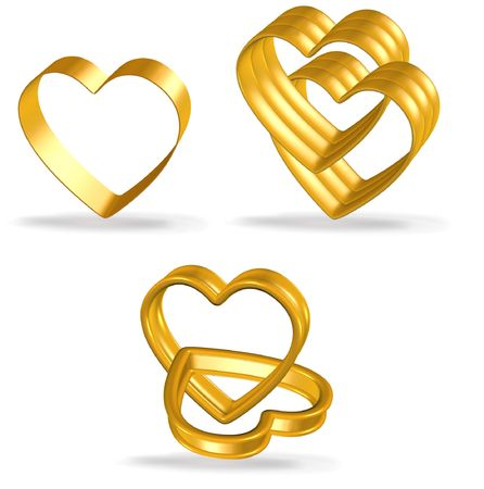 wed beauty: love concept icon - golden couple heart illustration