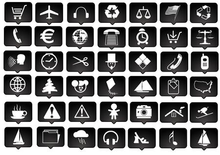 icon-set white and black series - signs and symbols photo