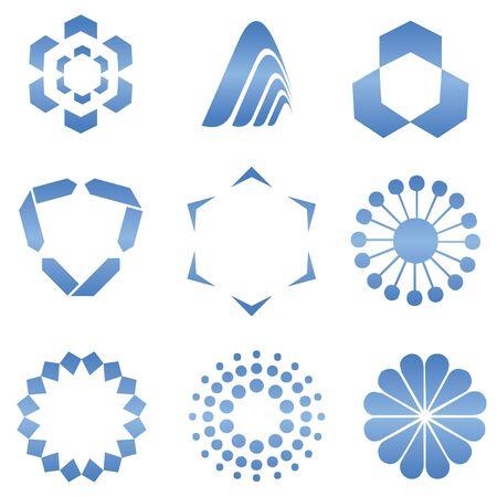 Blue Abstract Logo Shapes - Web Design  Elements photo