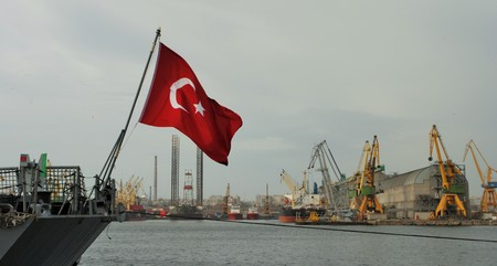 Turkish flag on the ship in the port Stock Photo
